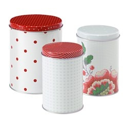 INBJUDANDE tin with lid, set of 3, flower squared pattern, dotted