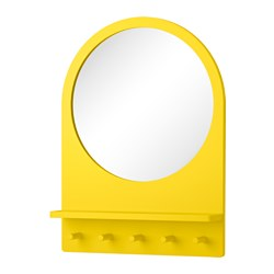 SALTRÖD mirror with shelf and hooks, yellow Width: 50 cm Height: 68 cm