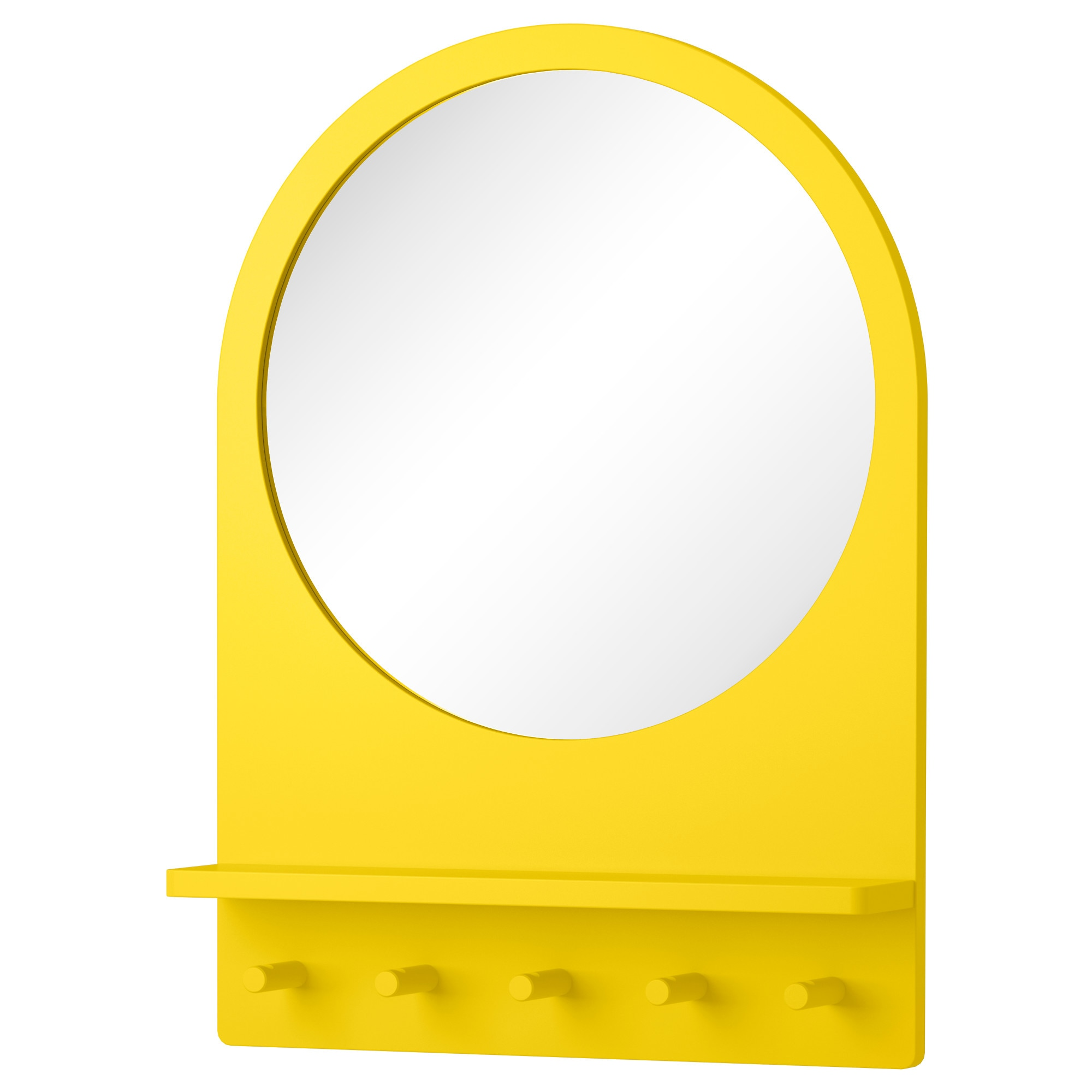 SALTRÖD Mirror with shelf and hooks - yellow - IKEA