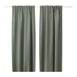 VILBORG curtains, 1 pair, green
