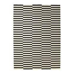 STOCKHOLM, Rug, flatwoven, black stripe handmade, off-white stripe black/off-white