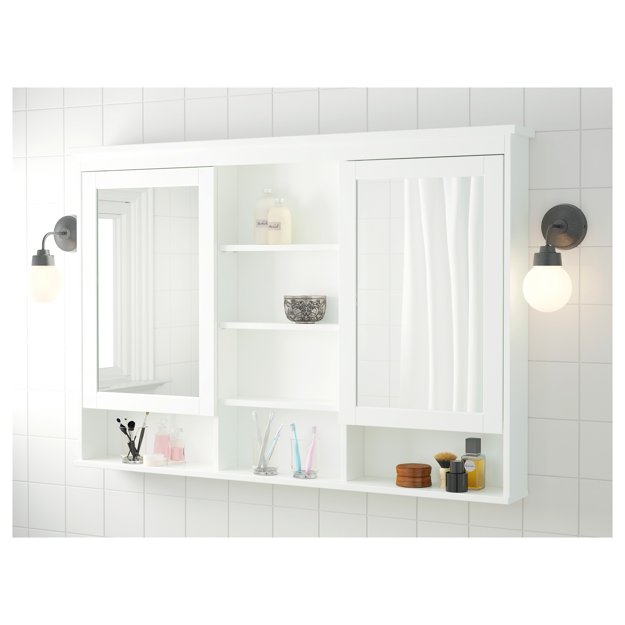 HEMNES Mirror cabinet with 2 doors - black-brown stain, 32 5/8x6 1 ...