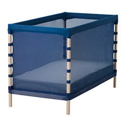 FLITIG, Cot, beech, medium blue