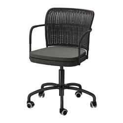 "GREGOR swivel chair, black, Svanby gray Tested for: 242 lb 8 oz Width: 21 5/8 "" Depth: 21 5/8 "" Tested for: 110 kg Width: 55 cm Depth: 55 cm"