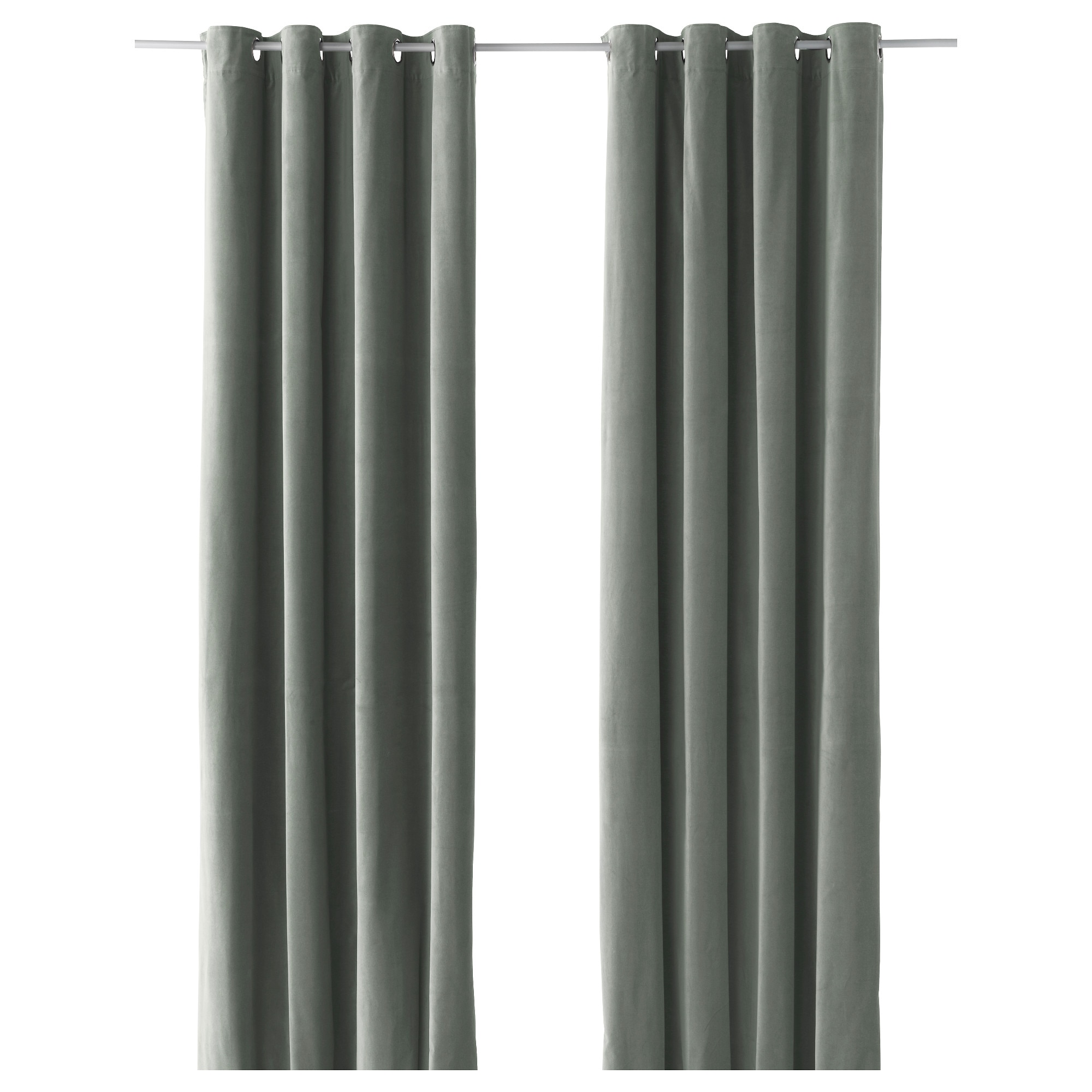 Kelly green velvet curtains - Sanela Curtains 1 Pair Gray Green Length 98 Width 55
