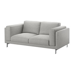 NOCKEBY two-seat sofa, Tallmyra white/black, chrome-plated