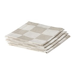 "STERLETT napkin, natural checkered Length: 18 "" Width: 18 "" Package quantity: 4 pack Length: 45 cm Width: 45 cm Package quantity: 4 pack"