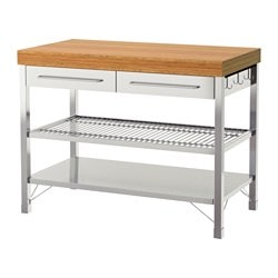 RIMFORSA work bench, stainless steel color stainless steel, bamboo
