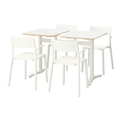 BILLSTA /  JANINGE table and 4 chairs, white, white