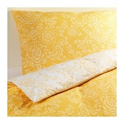 "ÅKERTISTEL duvet cover and pillowcase(s), yellow Duvet cover length: 86 "" Duvet cover width: 86 "" Pillowcase length: 20 "" Duvet cover length: 218 cm Duvet cover width: 218 cm Pillowcase length: 51 cm"