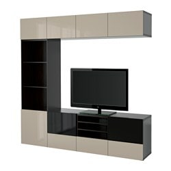 BESTÅ TV storage combination/glass doors, Selsviken high-gloss/beige smoked glass, black-brown Width: 240 cm Depth: 40 cm Height: 230 cm