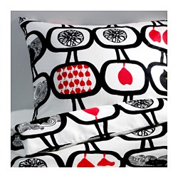 ÄNGSSKÄRA quilt cover and 2 pillowcases, black/white Thread count: 104 /inch² Pillowcase quantity: 2 pieces Quilt cover length: 200 cm