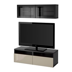 BESTÅ TV storage combination/glass doors, Selsviken high-gloss/beige clear glass, black-brown Width: 120 cm Min. depth: 20 cm Max. depth: 40 cm