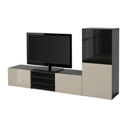 BESTÅ TV storage combination/glass doors, Selsviken high-gloss/beige smoked glass, white Width: 240 cm Depth: 40 cm Height: 128 cm