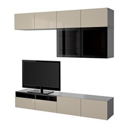 "BESTÅ TV storage combination/glass doors, Selsviken high gloss/beige clear glass, black-brown Width: 94 1/2 "" Depth: 15 3/4 "" Height: 90 1/2 "" Width: 240 cm Depth: 40 cm Height: 230 cm"