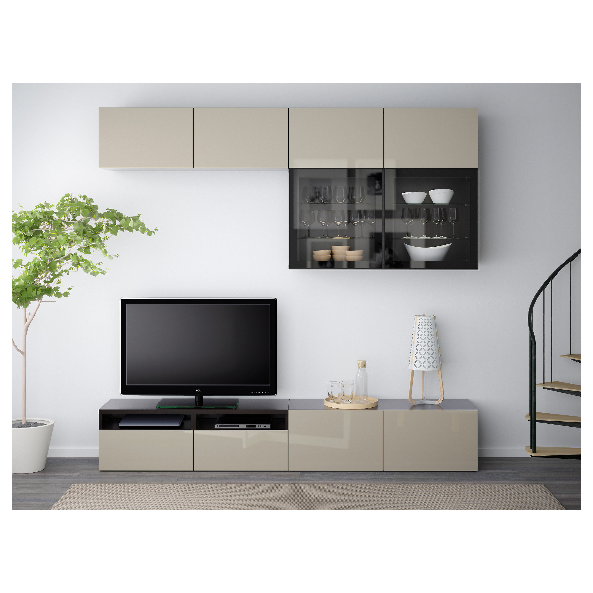 Best Combinaison Rangt Tv Vitrines Brun Noir Lappviken Sindvik  # Magasin Ikea Meuble Tv Marron