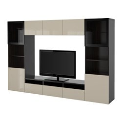 BESTÅ TV storage combination/glass doors, black-brown, Selsviken high-gloss/beige clear glass Width: 300 cm Depth: 40 cm Height: 192 cm