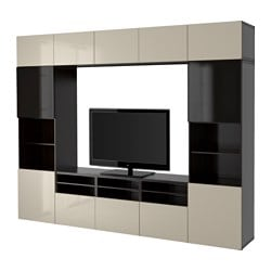 BESTÅ TV storage combination/glass doors, black-brown, Selsviken high-gloss/beige smoked glass Width: 300 cm Depth: 40 cm Height: 230 cm