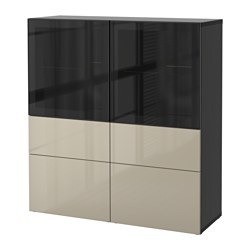 "BESTÅ storage combination w/glass doors, Selsviken high gloss/beige clear glass, black-brown Width: 47 1/4 "" Depth: 15 3/4 "" Height: 50 3/8 "" Width: 120 cm Depth: 40 cm Height: 128 cm"