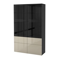 "BESTÅ storage combination w/glass doors, Selsviken high gloss/beige clear glass, black-brown Width: 47 1/4 "" Depth: 15 3/4 "" Height: 75 5/8 "" Width: 120 cm Depth: 40 cm Height: 192 cm"