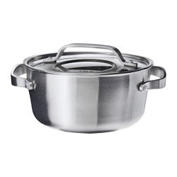 SENSUELL, Pot with lid, stainless steel, gray