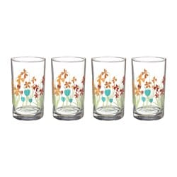 KACKLING glass, flowers Height: 11 cm Volume: 23 cl Package quantity: 4 pack