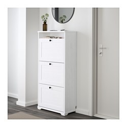 Brusali Shoe Cabinet With 3 Compartments White
