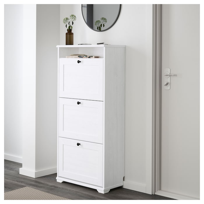 Brusali Shoe cabinet with 3 compartment, white, 24x51 1/8