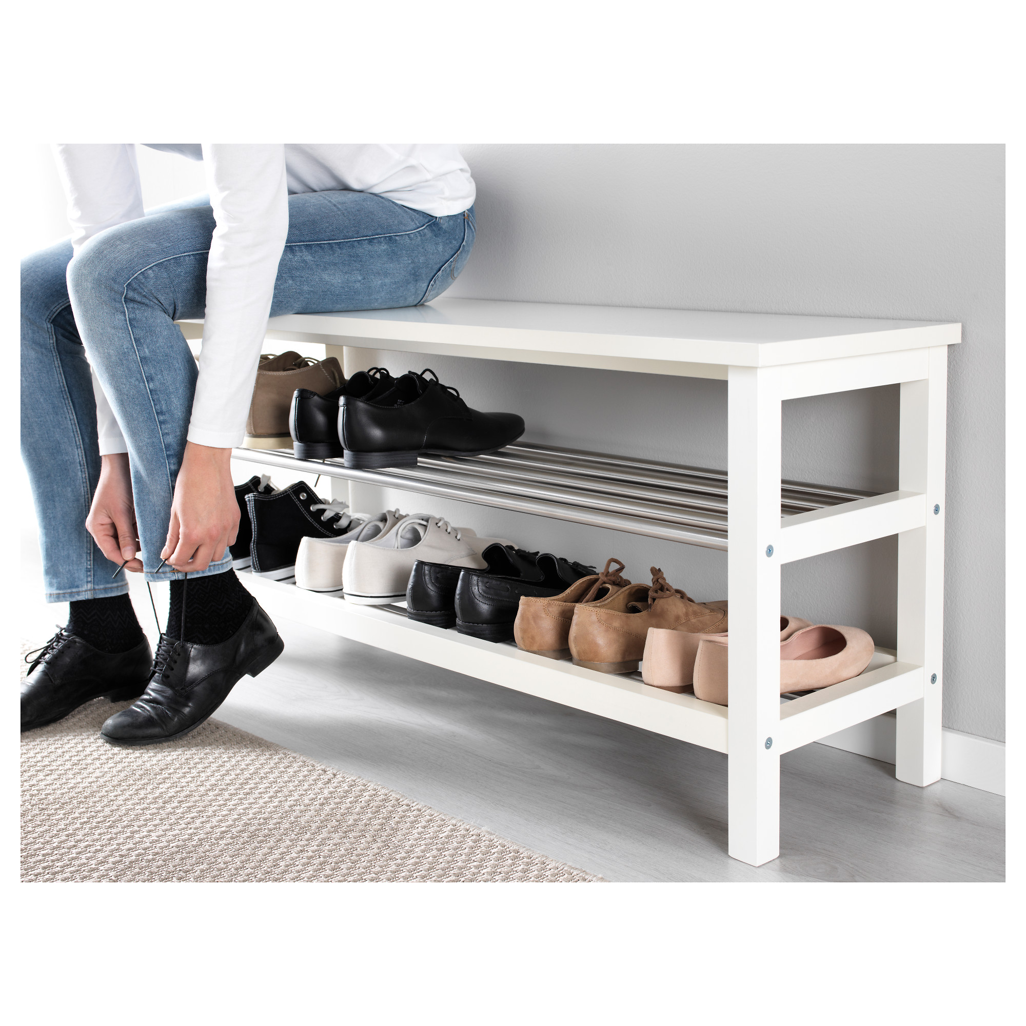 Ikea Shoe Storage Part - 17: TJUSIG Bench With Shoe Storage - Black - IKEA
