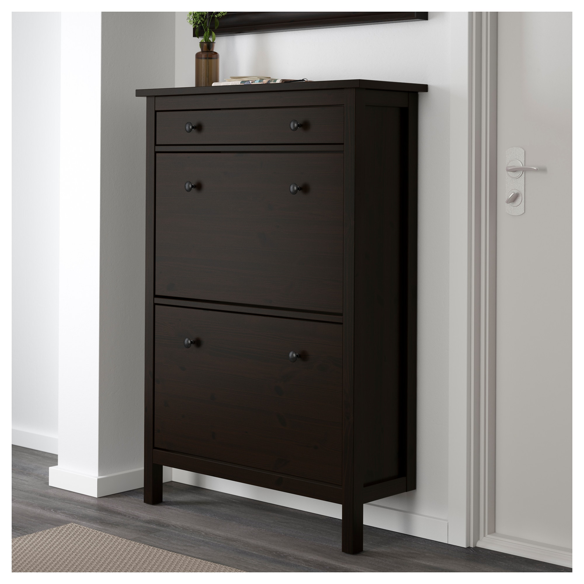 Design Ikea Shoe Storage hemnes shoe cabinet with 2 compartments black brown ikea