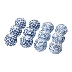 SOLVINDEN decoration for light chain, globe blue/white Package quantity: 12 pack Package quantity: 12 pack