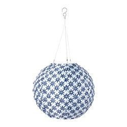 "SOLVINDEN LED solar-powered pendant lamp, globe blue/white Diameter: 12 "" Diameter: 30 cm"