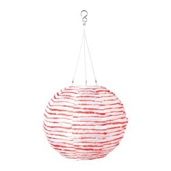 "SOLVINDEN LED solar-powered pendant lamp, globe red/white Diameter: 12 "" Diameter: 30 cm"