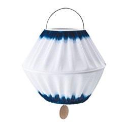 "SOLVINDEN LED solar-powered pendant lamp, blue/white Diameter: 12 5/8 "" Total height: 10 5/8 "" Diameter: 32 cm Total height: 27 cm"