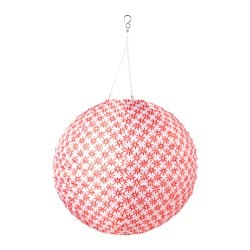 "SOLVINDEN LED solar-powered pendant lamp, globe red/white Diameter: 18 "" Diameter: 45 cm"