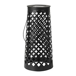 "SOLVINDEN LED solar-powered floor lamp, cone-shaped black Height: 18 "" Height: 45 cm"