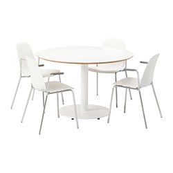 BILLSTA /  LEIFARNE table and 4 chairs, white, white