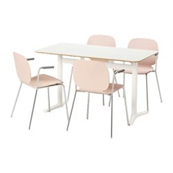 BILLSTA /  SVENBERTIL table and 4 chairs, birch, white Length: 130 cm Width: 70 cm Height: 74 cm