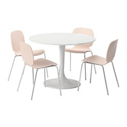DOCKSTA /  SVENBERTIL table and 4 chairs, birch, white Diameter: 105 cm Height: 75 cm