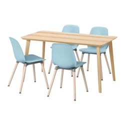 LISABO /  LEIFARNE table and 4 chairs, light blue, ash veneer Length: 140 cm Width: 78 cm Height: 74 cm