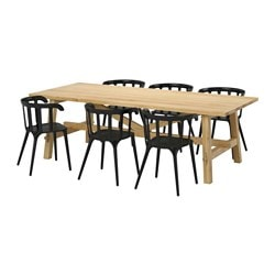 MÖCKELBY /  IKEA PS 2012 table and 6 chairs, black, oak Length: 235 cm Width: 100 cm Height: 74 cm