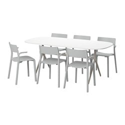 OPPEBY/ OPPMANNA /  JANINGE table and 6 chairs, grey, high-gloss white Length: 185 cm Width: 90 cm