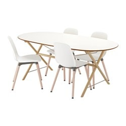 SLÄHULT/ DALSHULT /  LEIFARNE table and 4 chairs, white, birch Length: 185 cm Width: 90 cm Height: 73 cm