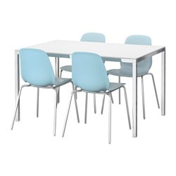 TORSBY /  LEIFARNE table and 4 chairs, light blue, glass white Length: 135 cm
