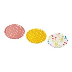 KACKLING tray, flowers assorted colours, dotted Diameter: 43 cm