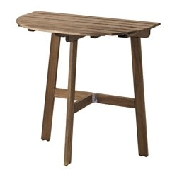 ASKHOLMEN table for wall, outdoor, folding grey-brown stained Length: 70 cm Width: 44 cm Height: 71 cm