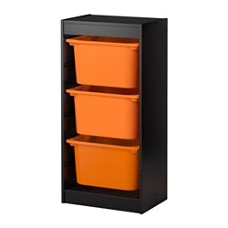 TROFAST storage combination, orange, black Width: 46 cm Depth: 30 cm Height: 94 cm