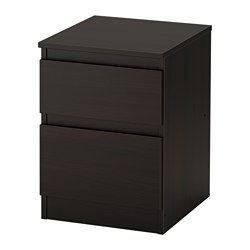 KULLEN 2-drawer chest, black-brown