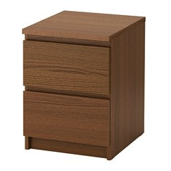 MALM chest of 2 drawers, brown stained ash veneer