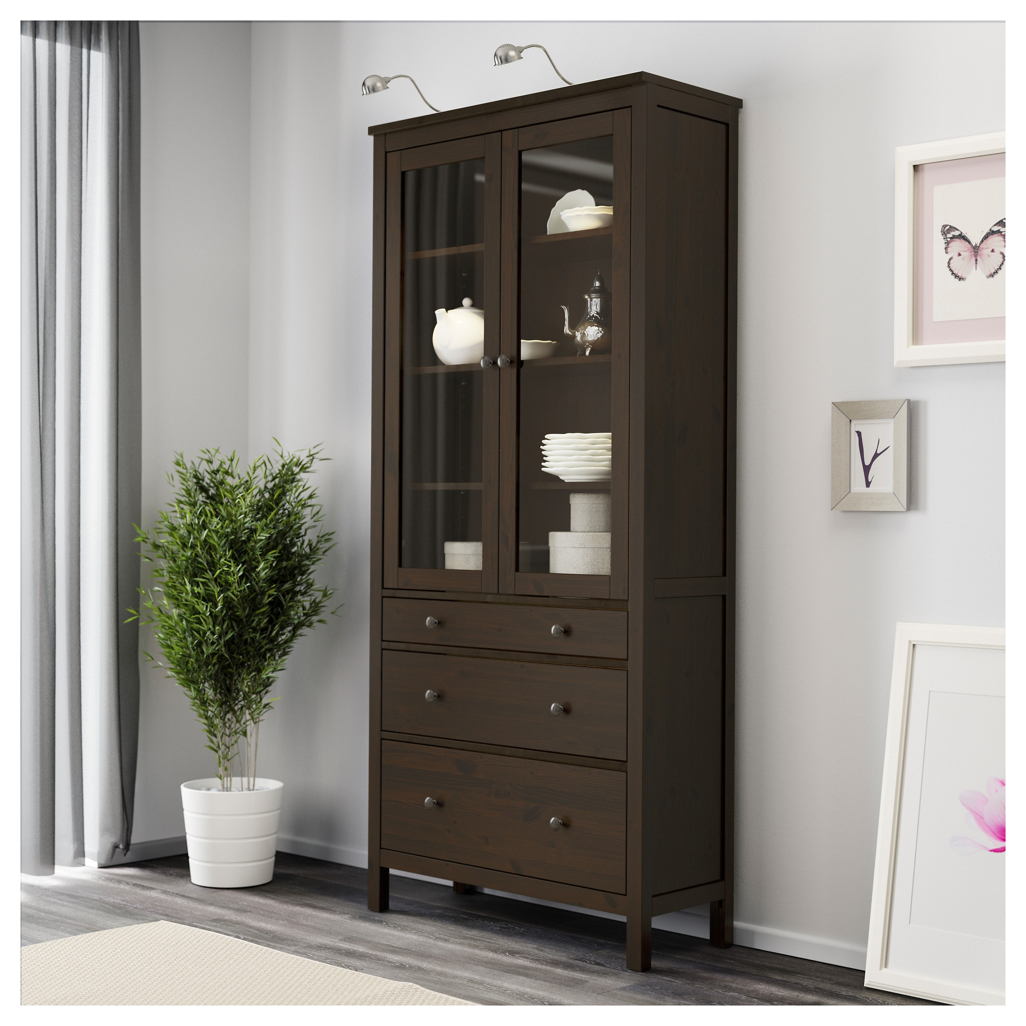 Hemnes glass door cabinet with 3 drawers light brown ikea eventshaper